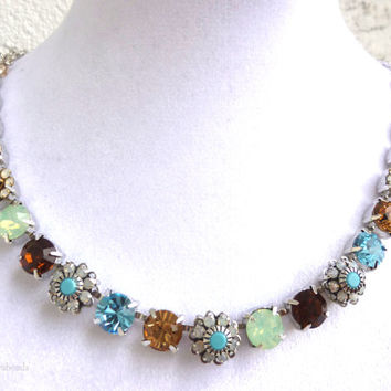 swarovski crystal necklace-better than sabika-floral-topaz-turquoise-opals