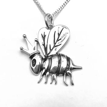 Bee Necklace, Bumble Bee Necklace, Queen Bee Necklace, Bee Jewelry, Sterling Silver Bee Necklace, Gifts for Her, Gifts for Him