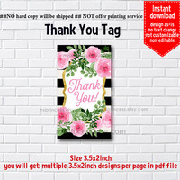 Instant Download, watercolor floral #929 thank you gift, girl party, Thank you TAG, 3.5x2inch printable , non-editable NOT CUSTOMIZABLE
