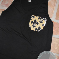 "Saints Themed Black Tank Top with Black/Gold Fleur de Lis Pocket - ""WHO DAT"""