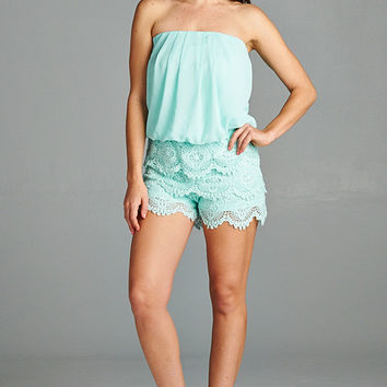 Strapless Lace Romper in Mint