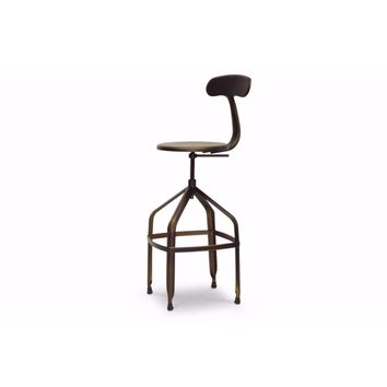 Architect's Industrial Bar Stool with Backrest in Antiqued Copper By Baxton Studio