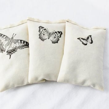 Cream Botanical Sachets Butterfly Whimsy Eco White Home Decor Drawer Sachets Boudoir Aromatherapy