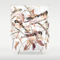 Sparrows in the Fall Shower Curtain by sureart