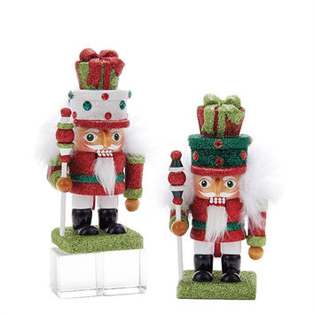 Gittered Nutcracker Gifts Head Christmas Ornaments, 6-3/4-Inch, 2-Piece