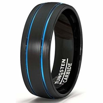 Black Tungsten Wedding Band Brushed Matte With Double Groove Blue Inlay Dome Comfort Fit - 8mm