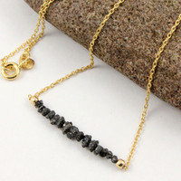 Raw Uncut Diamond Necklace - 14K Gold Filled - Conflict Free Diamonds - Black Rough Stones - April Birthstone