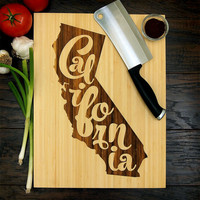 California Typography Cutting Board (Pictured in Natural), approx. 12 x 16 inches, laser engraved, bamboo wood, Wedding or Anniversary gift