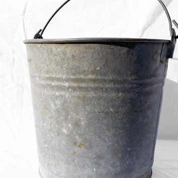 Vintage Milk Bucket; Farm or Barn Metal Tin Pail with Red Handle; Industrial Storage Display