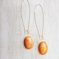 Vintage Swirled Burnt Orange Cabochon Earrings