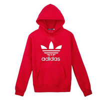 Adidas: men's long sleeve dance coat fleece add bonnet blouses winter thickening