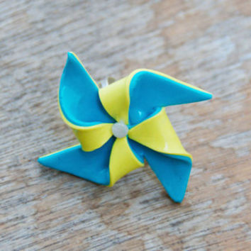 Paper Windmill Ring Polymer Clay Handmade Adjustable Blue and Yellow Ring, Turquoise , Lemon