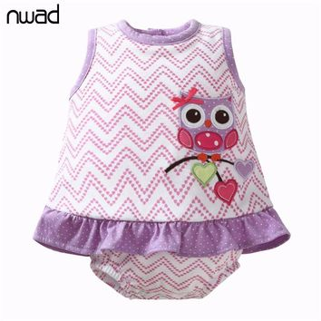 2017 Fashion Baby Girl Rompers Cute Cotton Summer Sleeveless Jumpsuits Cartoon Owl Newborn Baby Clothes Infant Clothing FF345