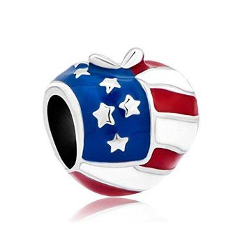 Charmed Craft Sterling Silver Heart Love USA America Flag Charms Beads Fit Pandora Bracelets Jewelry