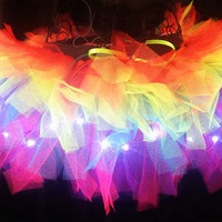 Rainbow Tutu Light Up Tutu EDM EDC Rave Club Wear Neon Tutu Adult Tutu Rainbow Brite
