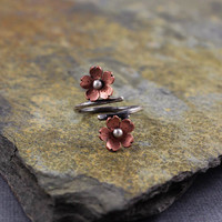 Cherry Blossom Branch RIng, Sakura branch ring, adjustable ring, Gifts for her, Valentines gift, Copper and Silver ring
