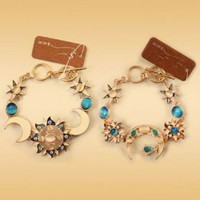 Gold Sun and Moon Toggle Bracelet