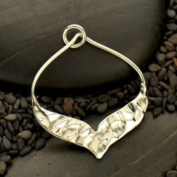 Silver Arabesque Pendant with Hammer Texture Bottom Edge
