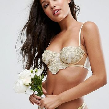 ASOS BRIDAL Paloma Metallic Gold Embroidered Lace Underwire Bra at asos.com
