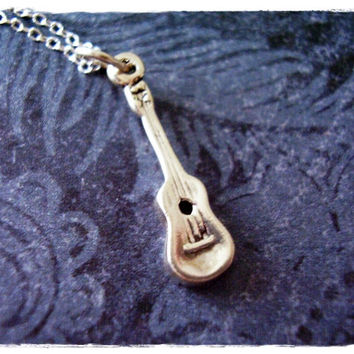 Tiny Silver Ukulele Necklace - Sterling Silver Ukulele Charm on a Delicate 18 Inch Sterling Silver Cable Chain