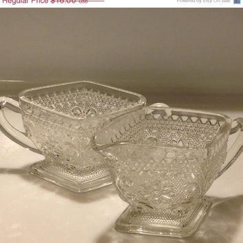 Indiana Glass Tiara Cream and Sugar Bowl Set Vintage Diamond Shaped Pressed Glass 1960s 70s