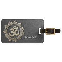 YOGA Meditation Instructor Black & Gold OM Mandala Luggage Tag