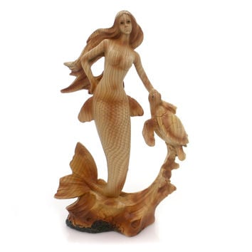 Animal Woodlike Mermaid Figurine