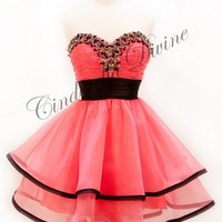 Short Cute Homecoming Prom Cocktail Dress Coral Size 12 Formal Dance Party Dress