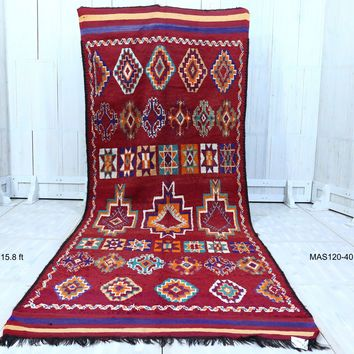 Old moroccan runner rug 5.9 ft x 15.8 ft