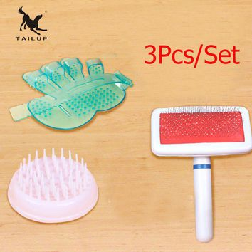 TAILUP 3Pcs/Set Pet Bath Sprayers Hair Moving Gloves Soft Massage Bath Brush For Dog and Cats Pet Hair Grooming Comb