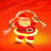 Tropical Santa Happy Holidays Painted Tee Shirt Orange Size Medium Front and Back Art Nurses Teachers Friend Gift Graphic Tshirt