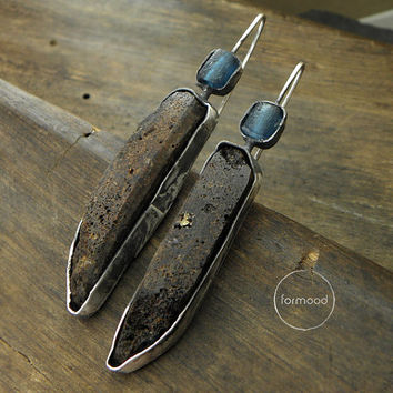 Earrings - oxidized silver, amber and blue ancient glass