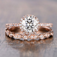 6.5mm Round Moissanite Wedding Set Diamond Bridal Ring 14k Rose Gold Marquise Matching Band