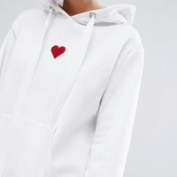 Adolescent Clothing Valentines Oversized Boyfriend Hoodie With Heart Embroidery at asos.com
