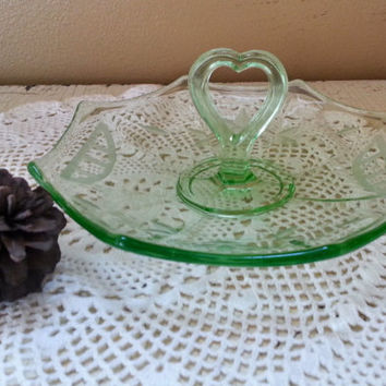 Green Depression Glass Small Canape Server Etched Glass Heart Shaped Handle Asian Design