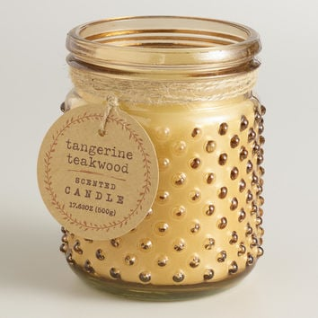 Brown Tangerine Teakwood Glass Hobnail Jar Candle