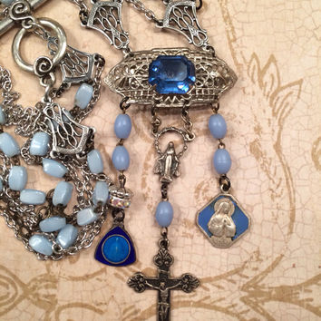 Blue Filigree Brooch Rosary Assemblage Necklace