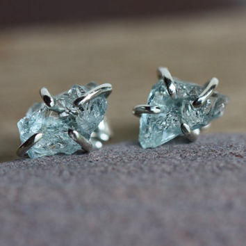 Rough Uncut Aquamarine And Sterling Silver Stud Earrings