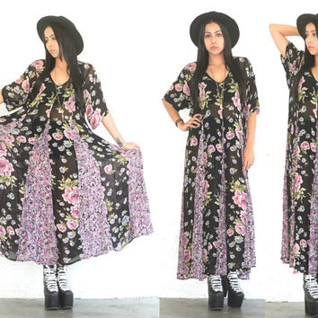 Vintage 90s Grunge Hipster // Sheer Black Gauzy Floral Maxi Dress // XS Extra Small / Small / Medium / Large
