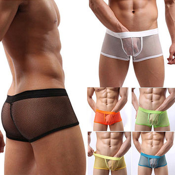 See Through Mesh Boxers Shorts Briefs Underpants Underwear