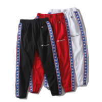 Champion new summer fashion mesh casual pants men and women star side edge string mark sports trousers three color