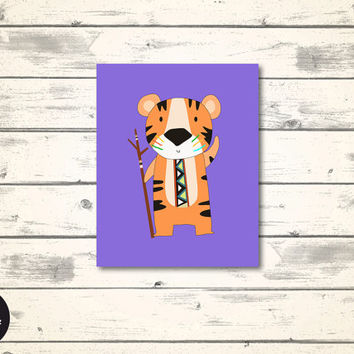 "Tiger - Tribal Nursery Print, Woodland Animal Play Room Decor, 8x10"", Printable Wall Art, Boys Room Sign, Woodland Nursery Poster, Purple"