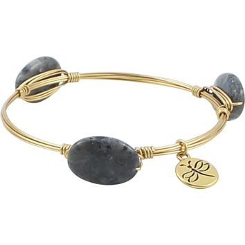 Crystal Wire Bangle Black Moonstone
