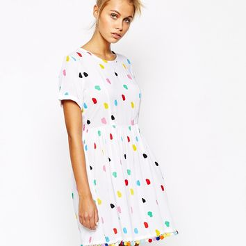 Lazy Oaf Dress With All Over Pom Pom Print & Detail