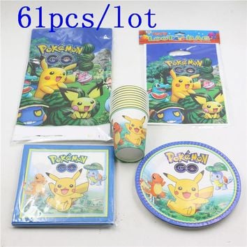 61pcs\lot Kids Favors Pikachu Napkins Baby Shower Party Plates Cups  Go Tablecloth Gift Bags Birthday Decoration SuppliesKawaii Pokemon go  AT_89_9