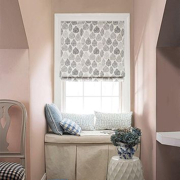 Quick Fix Washable Roman Window Shades Flat Fold, Forest Leaves