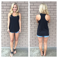 Black T-Back Cotton Tank