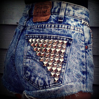 Vintage High Waisted Studded Acid Wash Levis by TrueBlueDryGoods