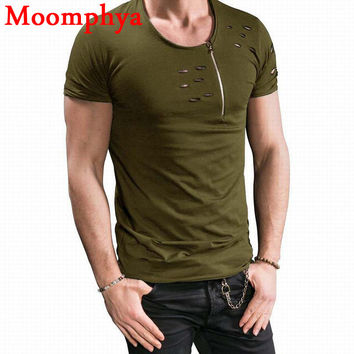 new design Men neck zip holes t shirt men street wear casual tshirt neck with size zip ripped distressed t-shirt men