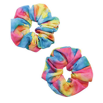 Blackheart Tie Dye Rainbow Scrunchie Set